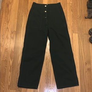 Green Uber High Waisted, Wide-leg Pants